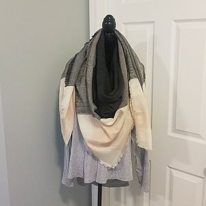 Blush Multi Colored Blanket Scarf